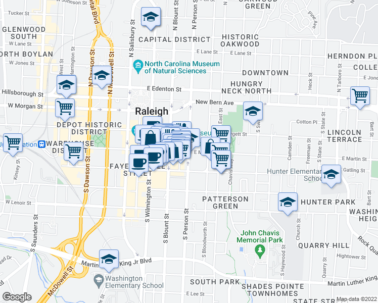 map of restaurants, bars, coffee shops, grocery stores, and more near 301 South Person Street in Raleigh