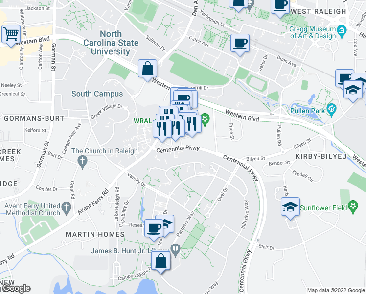 map of restaurants, bars, coffee shops, grocery stores, and more near 625 Centennial Parkway in Raleigh
