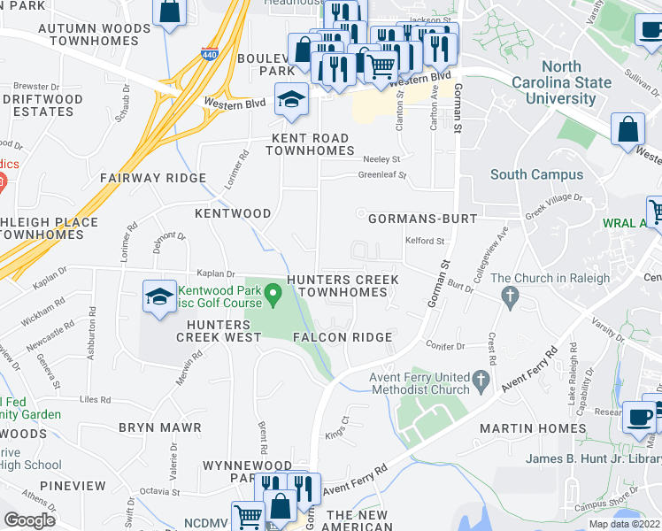 map of restaurants, bars, coffee shops, grocery stores, and more near 4338 Halliwell Dr in Raleigh
