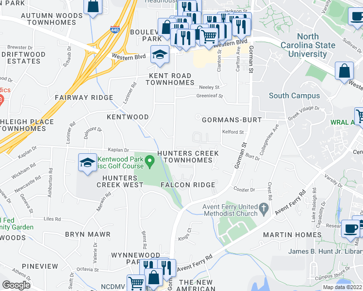 map of restaurants, bars, coffee shops, grocery stores, and more near 4338 Halliwell Drive in Raleigh