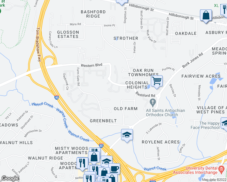 map of restaurants, bars, coffee shops, grocery stores, and more near 5801 Blacksmith Drive in Raleigh