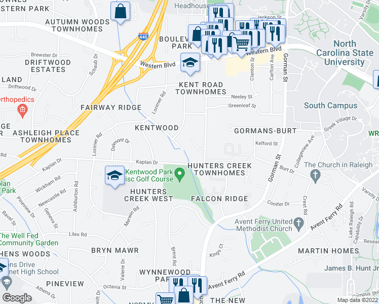 map of restaurants, bars, coffee shops, grocery stores, and more near 1417 Onslow Road in Raleigh