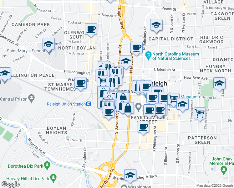 map of restaurants, bars, coffee shops, grocery stores, and more near 200 South Dawson Street in Raleigh