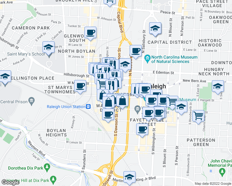 map of restaurants, bars, coffee shops, grocery stores, and more near 300 West Hargett Street in Raleigh