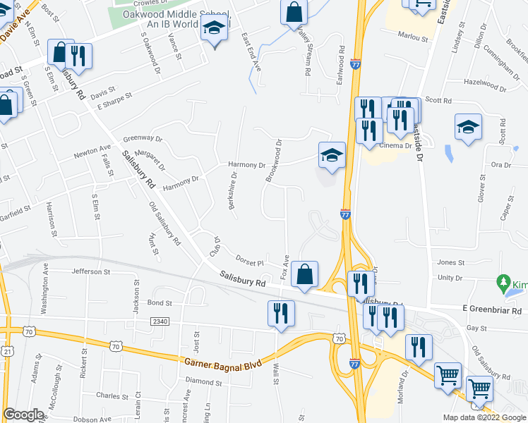 map of restaurants, bars, coffee shops, grocery stores, and more near 609 Foxcroft Terrace in Statesville