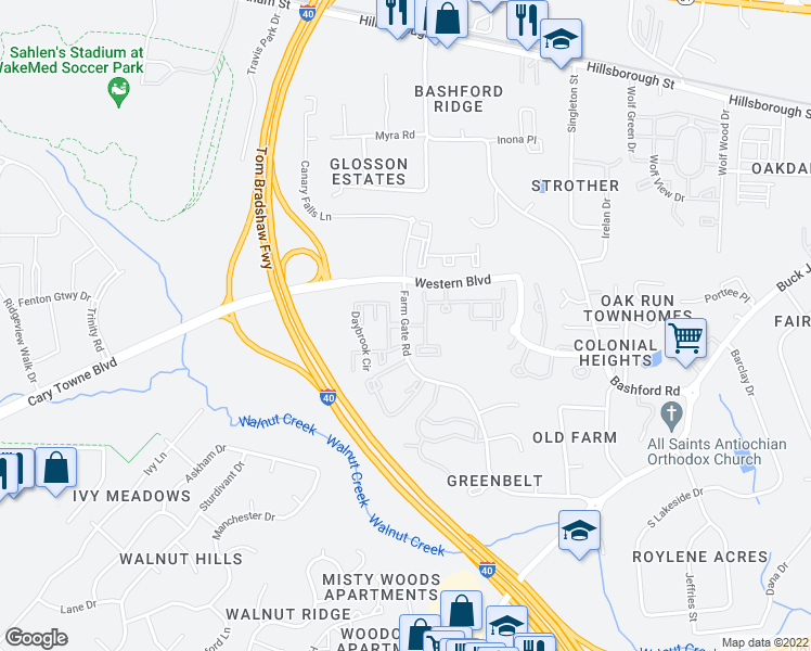map of restaurants, bars, coffee shops, grocery stores, and more near Farm Gate Rd & Daybrook Cir in Raleigh