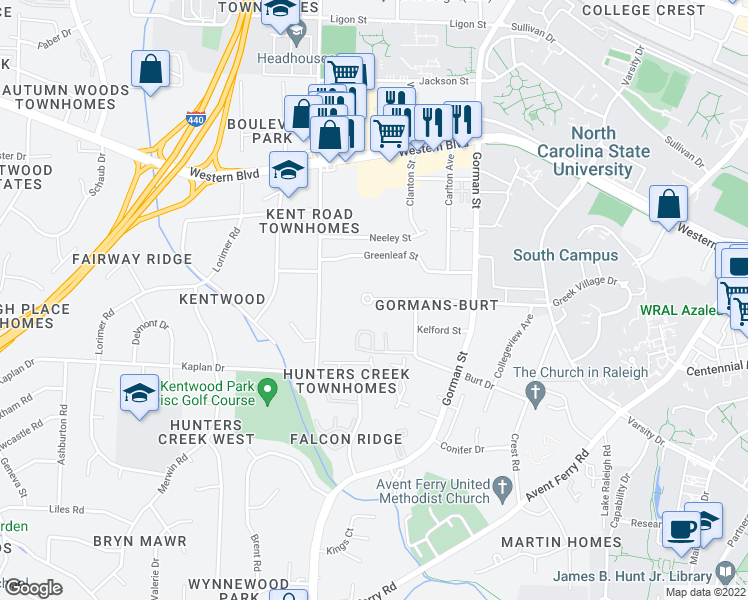 map of restaurants, bars, coffee shops, grocery stores, and more near 3954 Marcom Street in Raleigh
