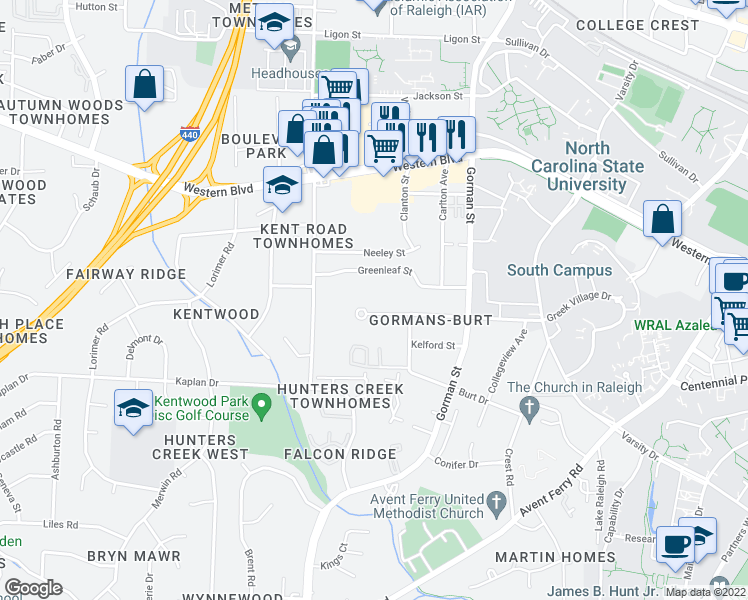 map of restaurants, bars, coffee shops, grocery stores, and more near 3926 Marcom Street in Raleigh