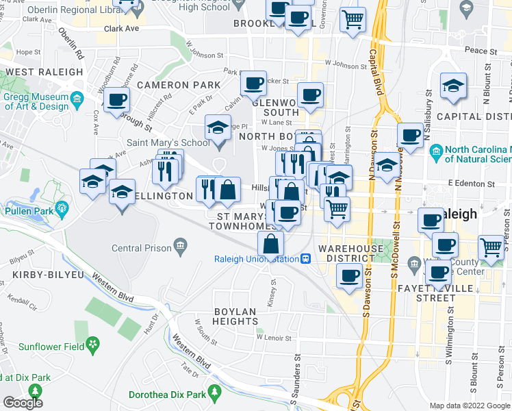 map of restaurants, bars, coffee shops, grocery stores, and more near W Morgan St & S St Mary's St in Raleigh