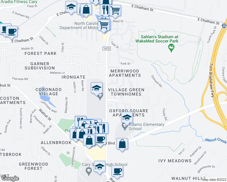 map of restaurants, bars, coffee shops, grocery stores, and more near 100 Merriwood Drive in Cary