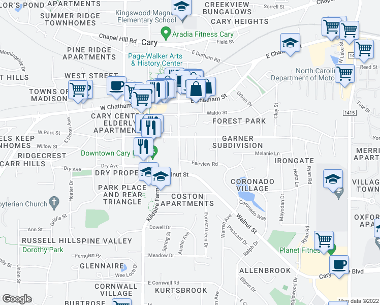 map of restaurants, bars, coffee shops, grocery stores, and more near 314 Keener Street in Cary