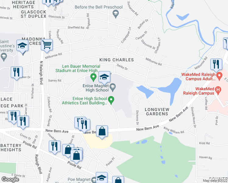 map of restaurants, bars, coffee shops, grocery stores, and more near 128 Clarendon Crescent in Raleigh