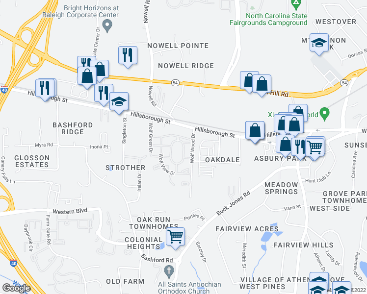 map of restaurants, bars, coffee shops, grocery stores, and more near Wolf Creek Circle in Raleigh