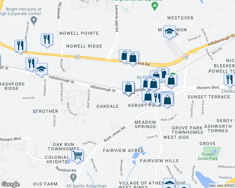 map of restaurants, bars, coffee shops, grocery stores, and more near 5701 Hillsborough Street in Raleigh
