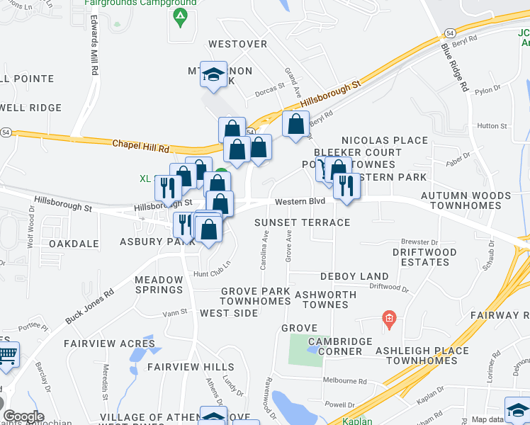 map of restaurants, bars, coffee shops, grocery stores, and more near 502 Carolina Avenue in Raleigh