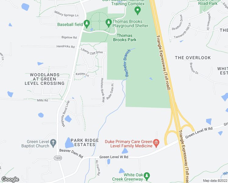 map of restaurants, bars, coffee shops, grocery stores, and more near 521 Belle Gate Place in Cary