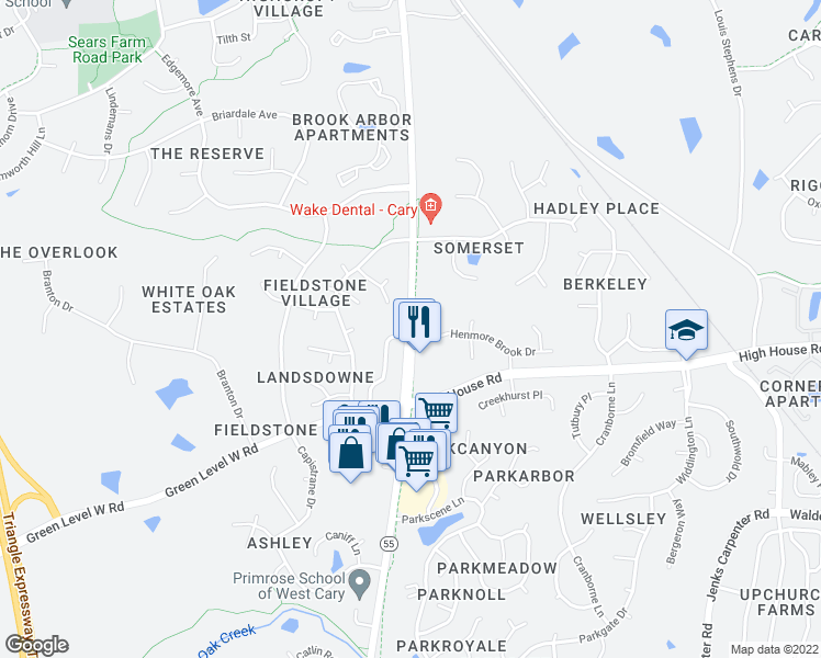 map of restaurants, bars, coffee shops, grocery stores, and more near N Carolina 55 in Cary