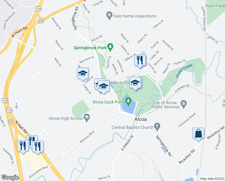 map of restaurants, bars, coffee shops, grocery stores, and more near Springbrook Road in Alcoa