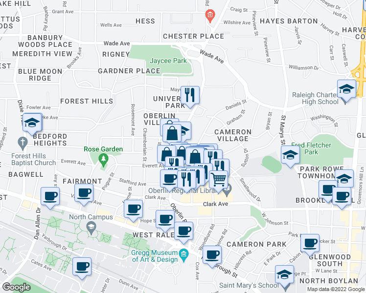 map of restaurants, bars, coffee shops, grocery stores, and more near 616 Oberlin Road in Raleigh