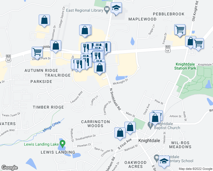 map of restaurants, bars, coffee shops, grocery stores, and more near McKnight Drive in Knightdale