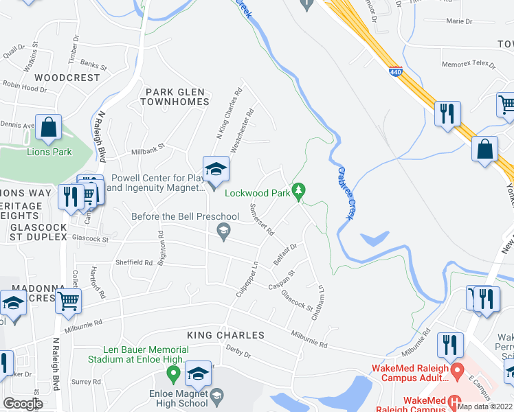map of restaurants, bars, coffee shops, grocery stores, and more near 1208 Somerset Road in Raleigh