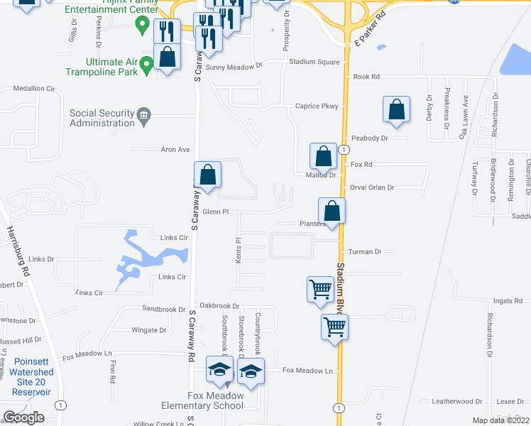 map of restaurants, bars, coffee shops, grocery stores, and more near 2644 Glenn Place in Jonesboro