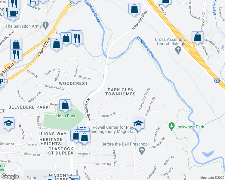 map of restaurants, bars, coffee shops, grocery stores, and more near Dalewood Drive in Raleigh