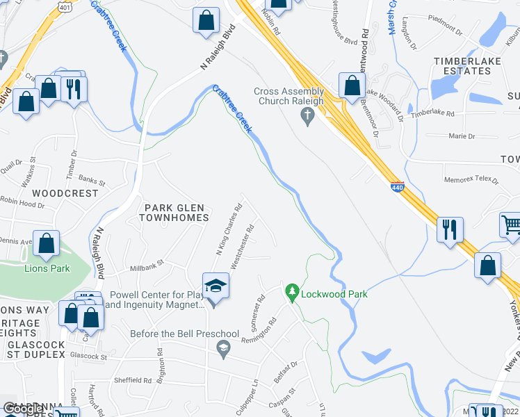 map of restaurants, bars, coffee shops, grocery stores, and more near 1428 Crabtree Boulevard in Raleigh