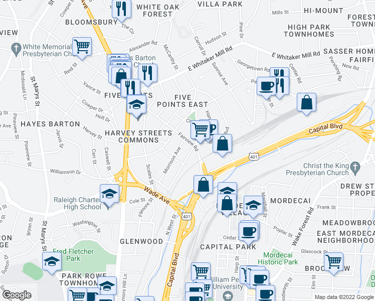 map of restaurants, bars, coffee shops, grocery stores, and more near 306 Bickett Boulevard in Raleigh