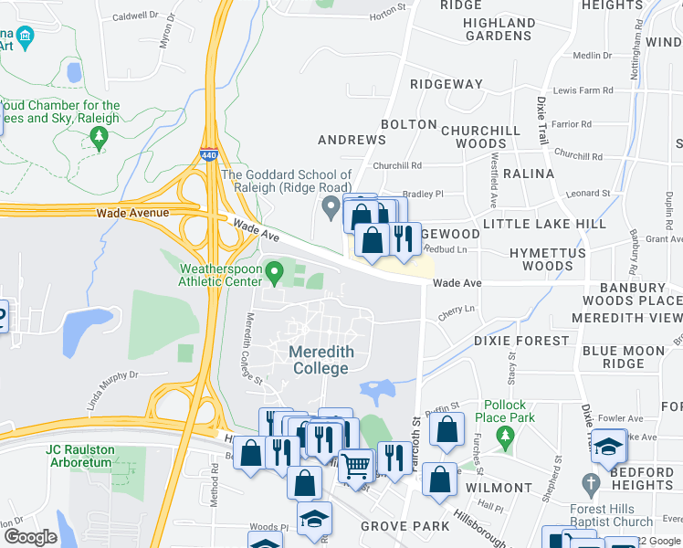 map of restaurants, bars, coffee shops, grocery stores, and more near 3546-3592 Wade Avenue in Raleigh