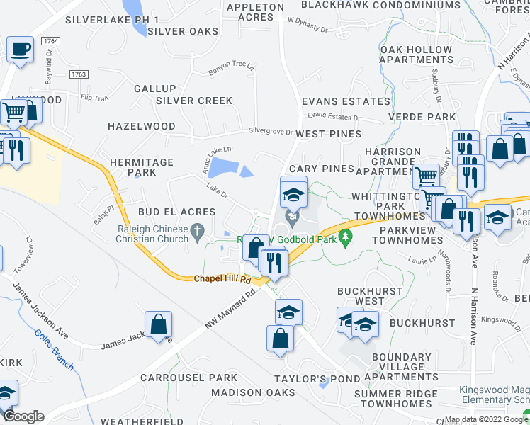 map of restaurants, bars, coffee shops, grocery stores, and more near 1013 Evans Road in Cary