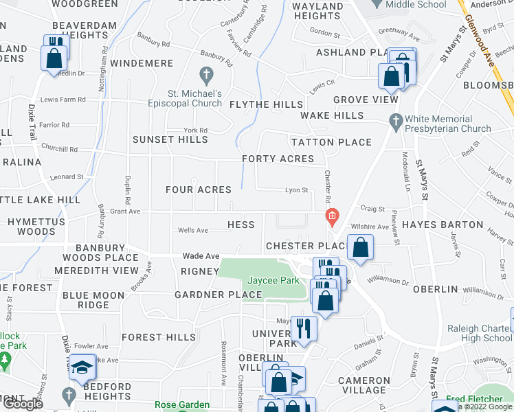 map of restaurants, bars, coffee shops, grocery stores, and more near 2327-1/2 Grant Avenue in Raleigh
