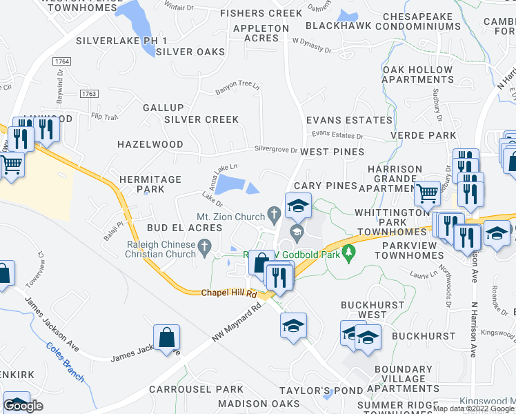 map of restaurants, bars, coffee shops, grocery stores, and more near 307 Lake Drive in Cary