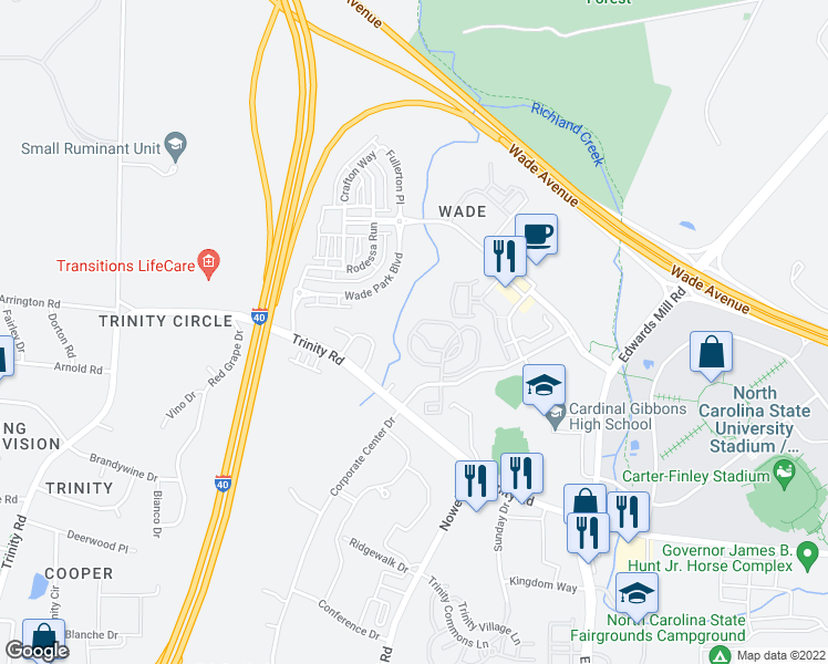 map of restaurants, bars, coffee shops, grocery stores, and more near 5401-5501 Creek Ridge Lane in Raleigh