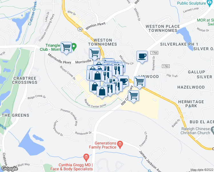 map of restaurants, bars, coffee shops, grocery stores, and more near Village Market Place in Morrisville