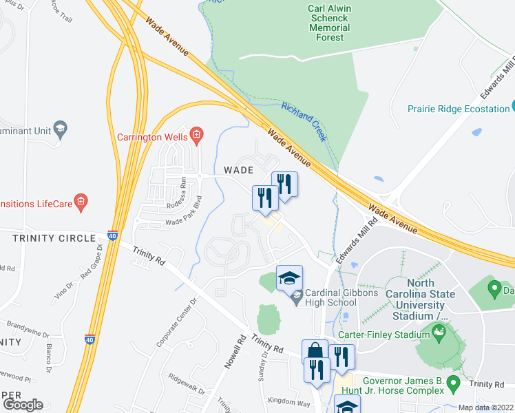map of restaurants, bars, coffee shops, grocery stores, and more near 5443 Wade Park Boulevard in Raleigh