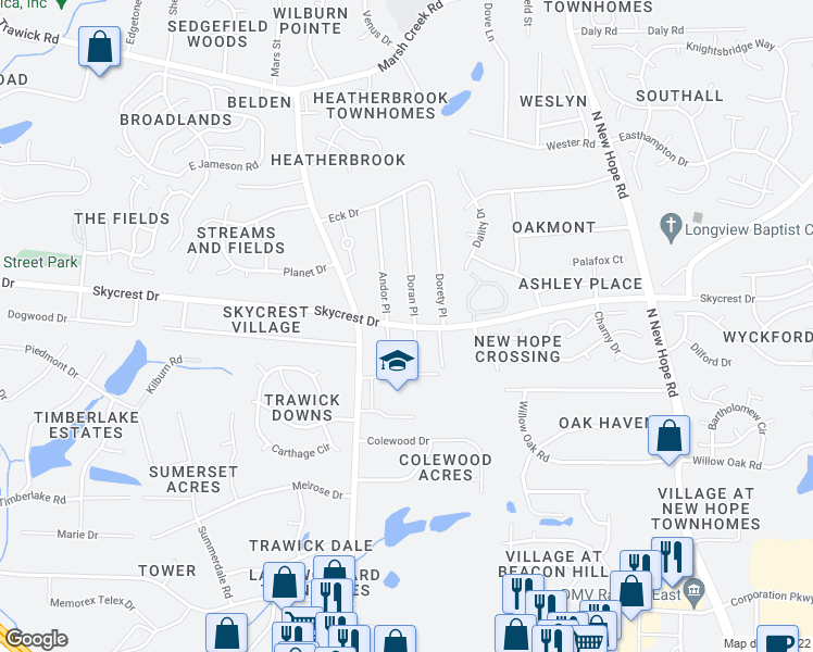 map of restaurants, bars, coffee shops, grocery stores, and more near Skycrest Drive in Raleigh
