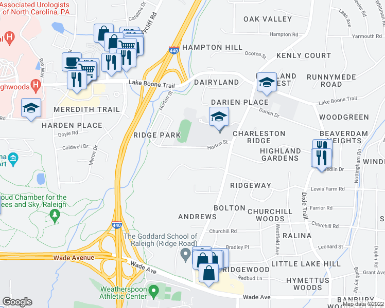 map of restaurants, bars, coffee shops, grocery stores, and more near 3401 Horton Street in Raleigh