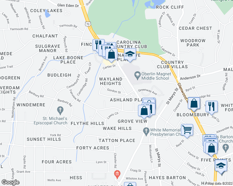 map of restaurants, bars, coffee shops, grocery stores, and more near 2705 Gordon Street in Raleigh
