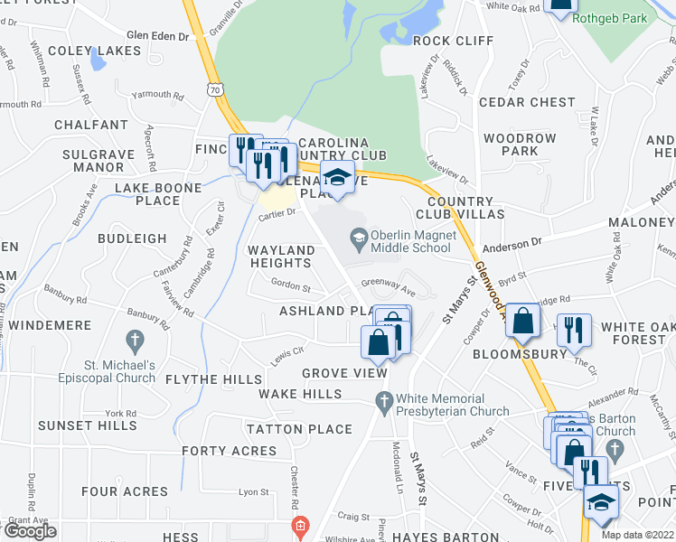 map of restaurants, bars, coffee shops, grocery stores, and more near 2737 Oberlin Road in Raleigh