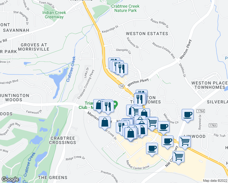 map of restaurants, bars, coffee shops, grocery stores, and more near 2100 Summit Ridge Loop in Morrisville