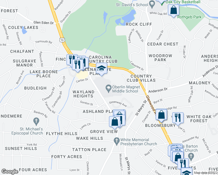 map of restaurants, bars, coffee shops, grocery stores, and more near 2816 Oberlin Road in Raleigh