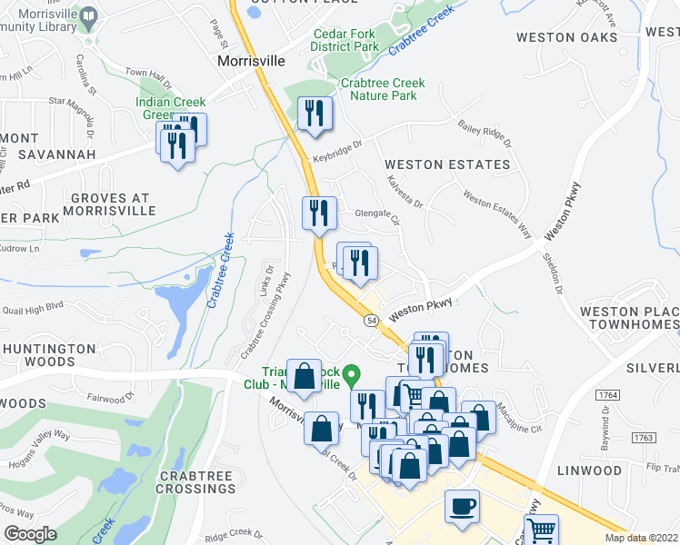 map of restaurants, bars, coffee shops, grocery stores, and more near 9956 Chapel Hill Road in Cary