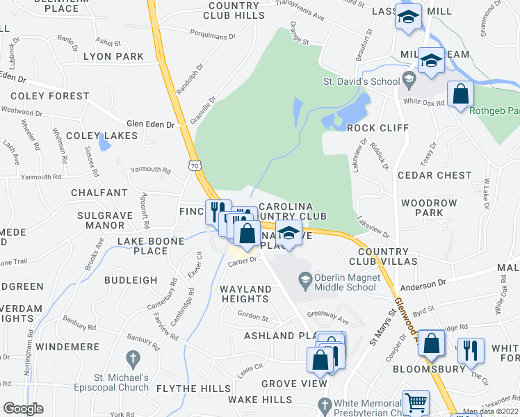 map of restaurants, bars, coffee shops, grocery stores, and more near 2600 Glenwood Avenue in Raleigh