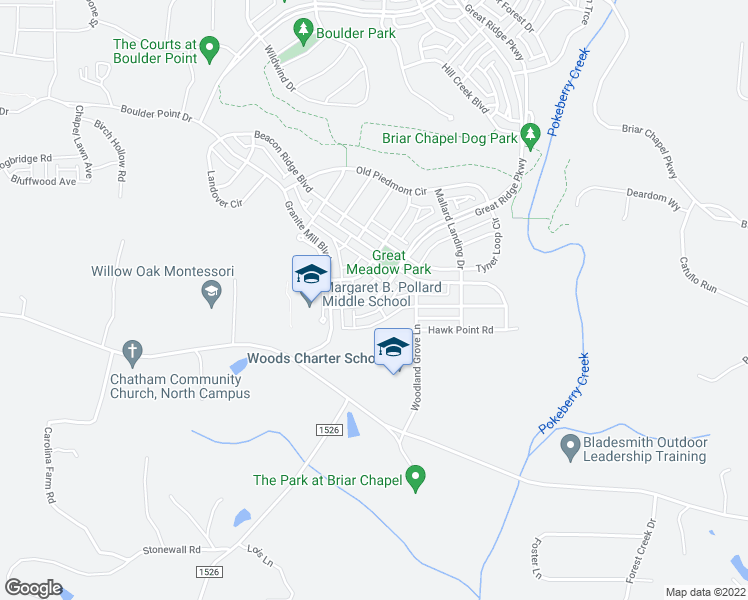 map of restaurants, bars, coffee shops, grocery stores, and more near 2335 Great Ridge Parkway in Chapel Hill