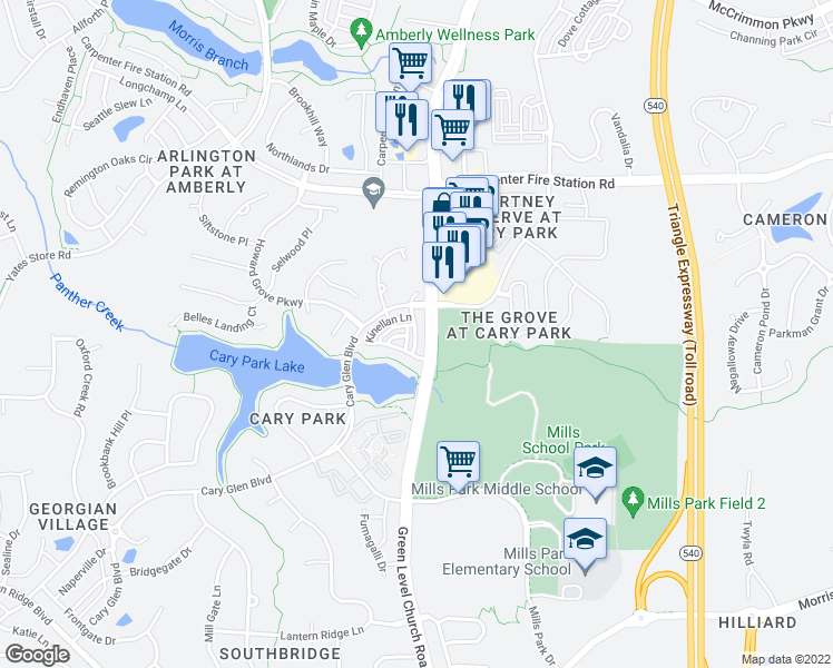 map of restaurants, bars, coffee shops, grocery stores, and more near 107 Braeside Court in Cary