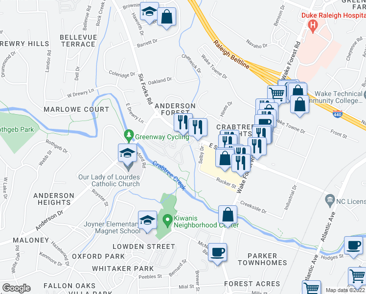 map of restaurants, bars, coffee shops, grocery stores, and more near 210 Calibre Chase Drive in Raleigh