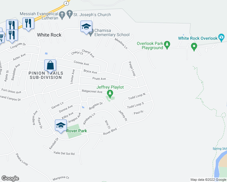 map of restaurants, bars, coffee shops, grocery stores, and more near 490 Ridgecrest Ave in Los Alamos