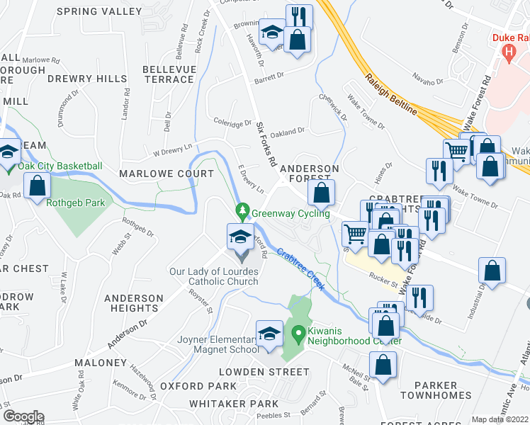 map of restaurants, bars, coffee shops, grocery stores, and more near 121 Calibre Chase Drive in Raleigh