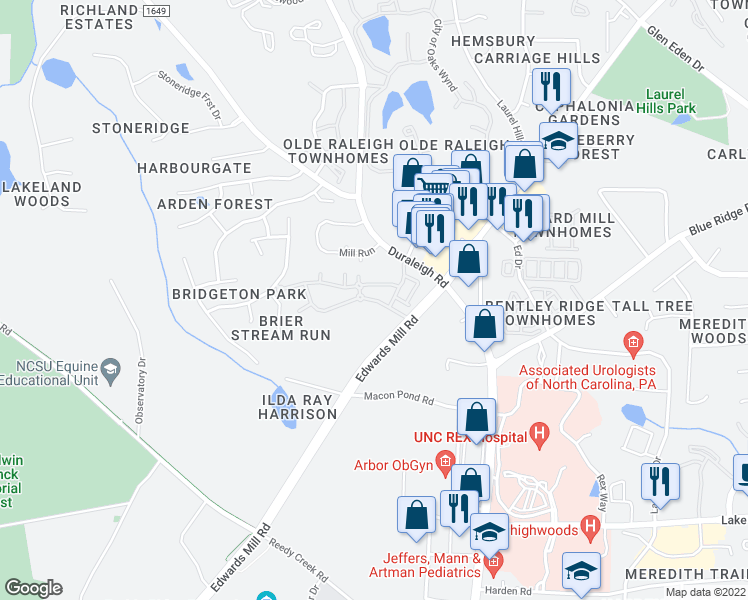 map of restaurants, bars, coffee shops, grocery stores, and more near 3321 Princeton Mill Parkway in Raleigh